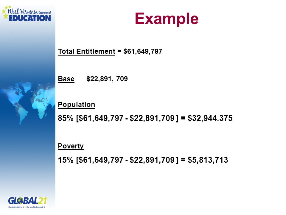 Example Total Entitlement = $61,649,797. Base $22,891, 709. Population. 85% [$61,649,797 - $22,891,709 ] = $32,944.375.